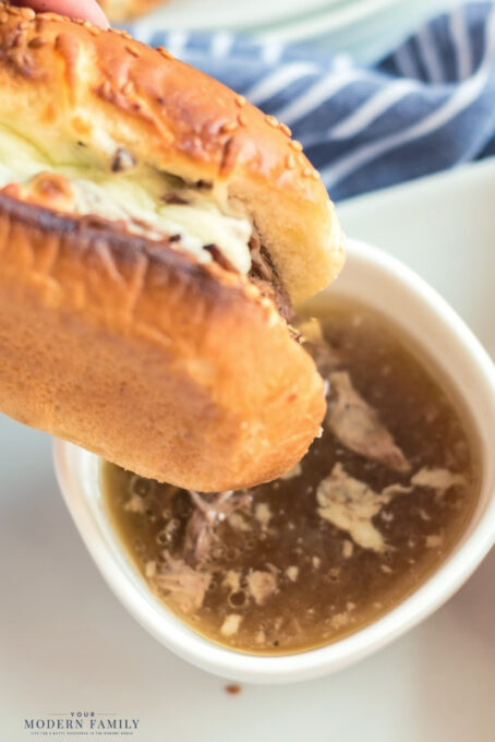 French Dip Sandwiches dipped in Broth
