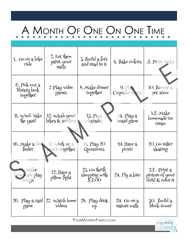 sample printable calendar of 30 days of one on one time
