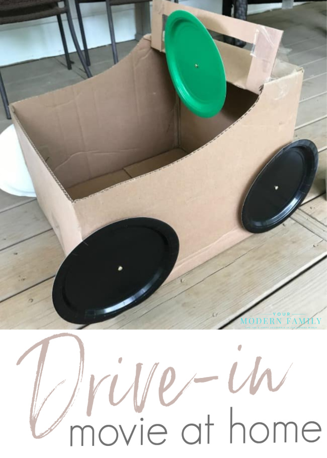 DIY cardboard box car for drive-in movie at home