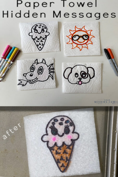 before & after -Science Experiments with Water _ Paper Towel Hidden Messages (1)