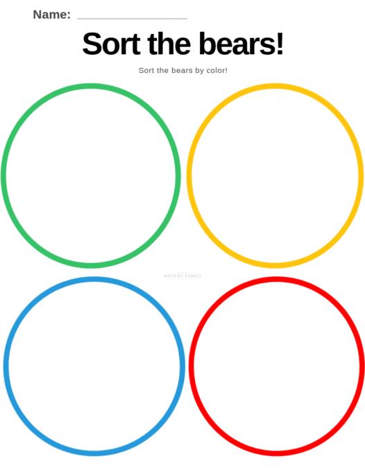 math activities for preschoolers - color sorting worksheet free