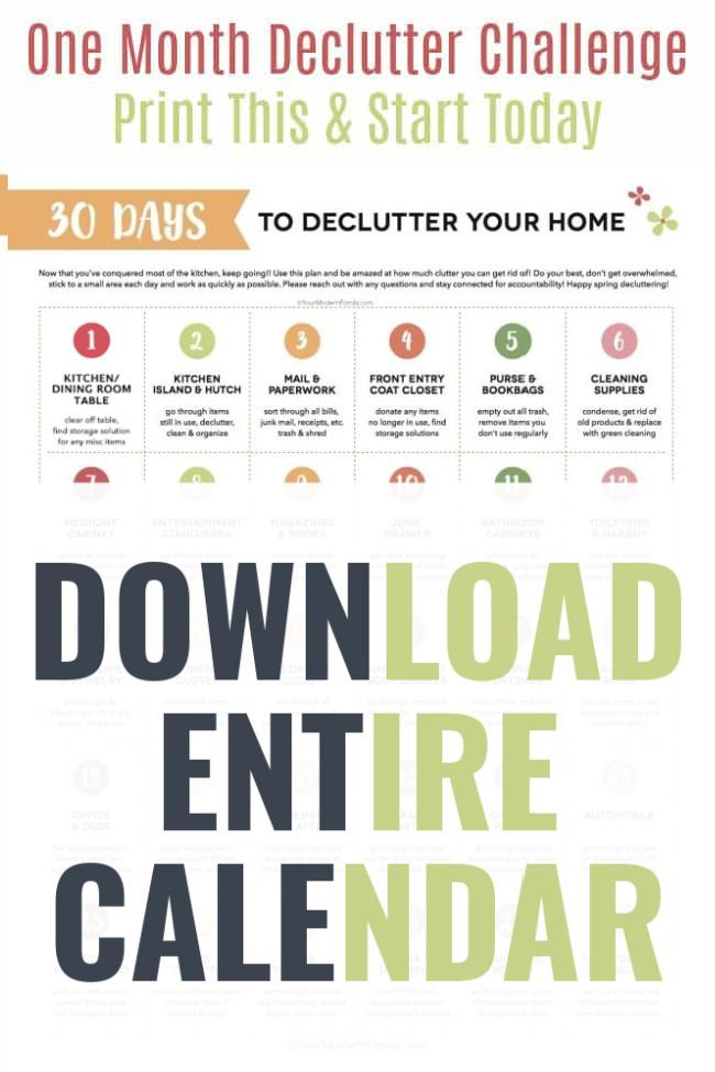 30 day declutter calendar