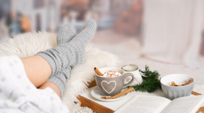 relaxing during the holidays with a cup of tea