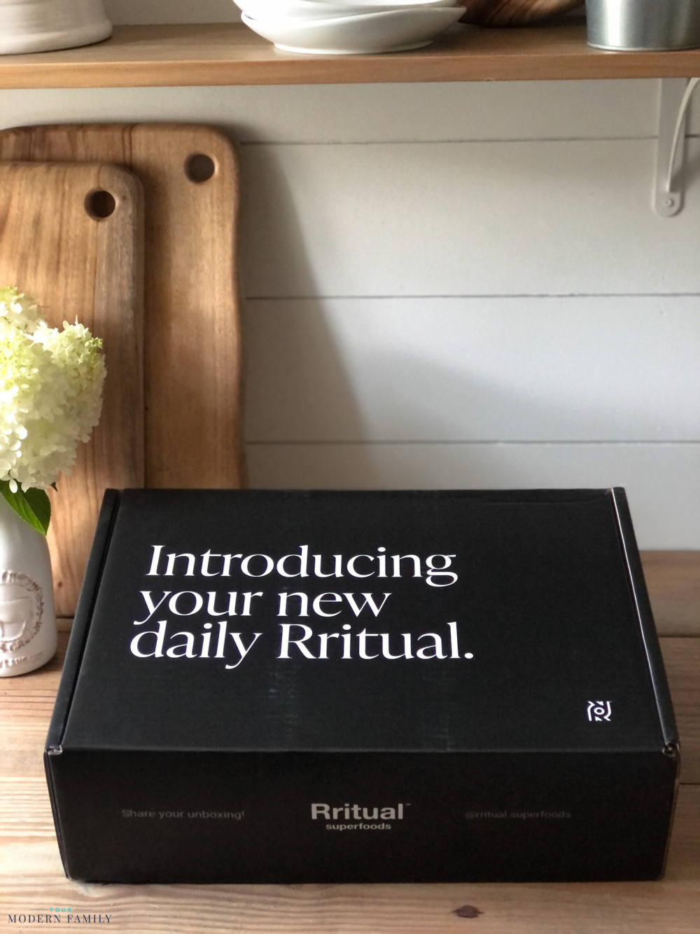 Box of Rritual plant-based superfoods sitting on a table