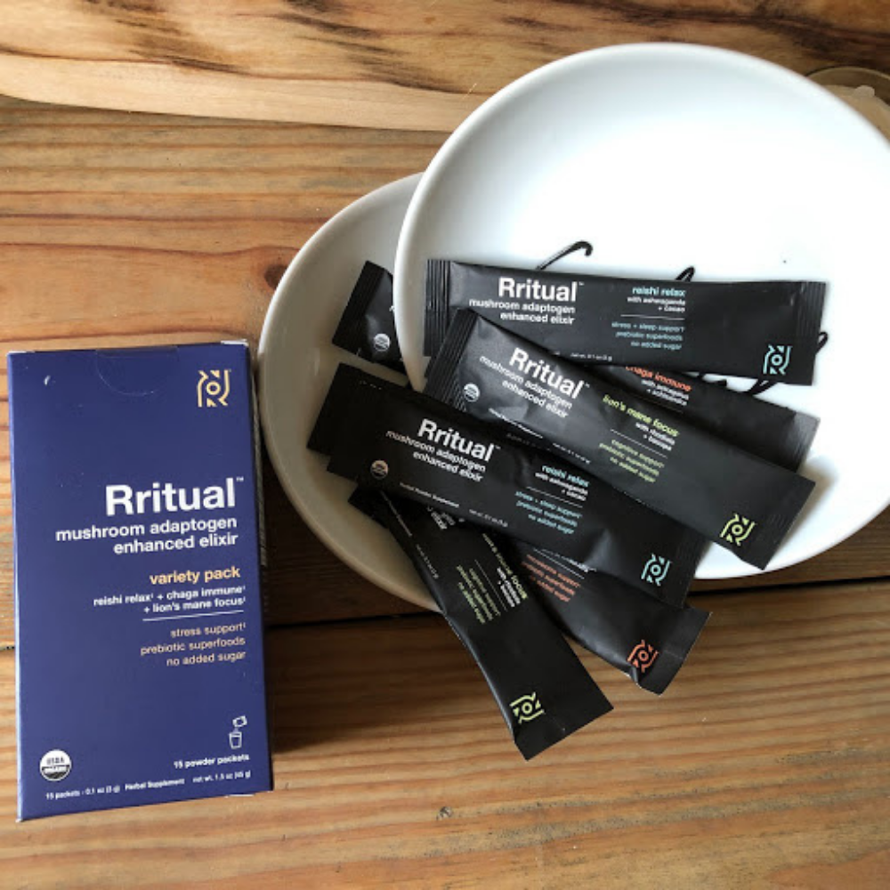 Box of Rritual plant-based superfoods sitting on a table.